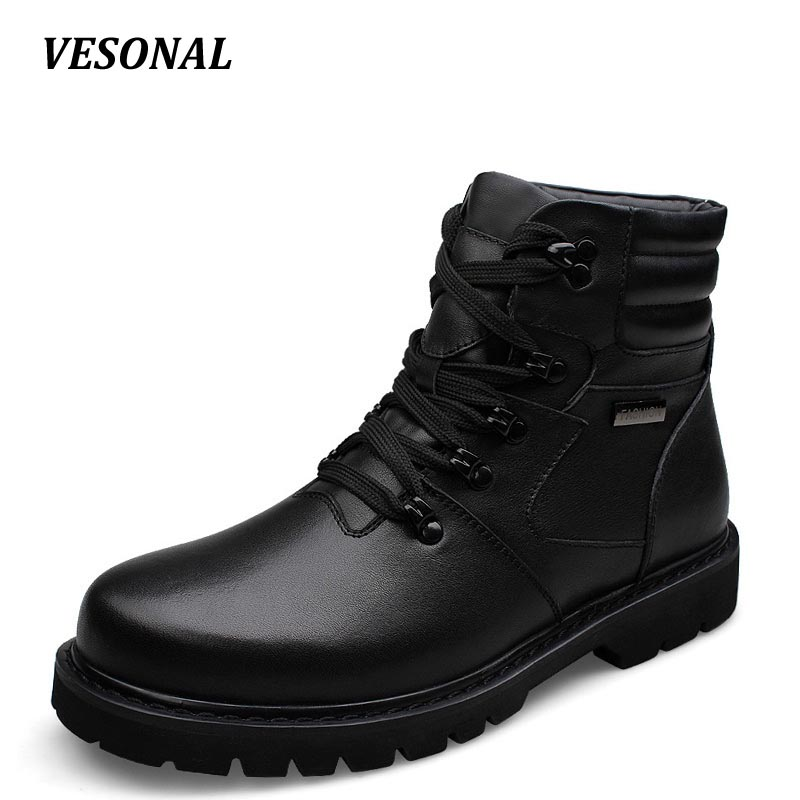 VESONAL Brand 100% Genuine Leather Winter Warm Velvet Snow Boots Men Shoes Cow Patchwork Military Motocycle Boot Male SDQ911 blaibilton new autumn winter 100% genuine leather cow sheepskin wool one patchwork snow boots men shoes warm fur mens ankle boot