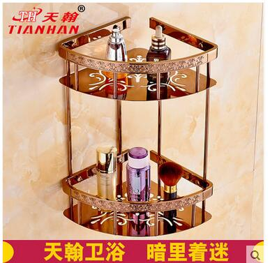 All wei yu copper european-style plating rose gold triangle basket of carve patterns or designs on woodwork bathroom corner sh