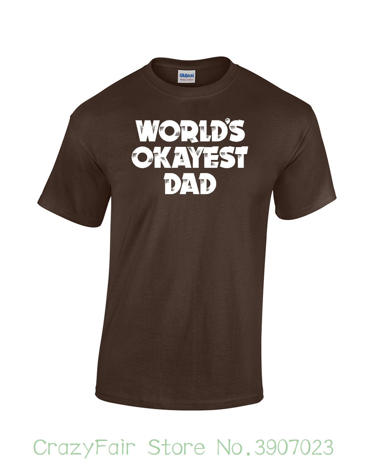 Worlds Okayest Dad T-shirt Fathers Day Funny Unisex Mens Ladies Tee Adult 100% Cotton Customized Tees