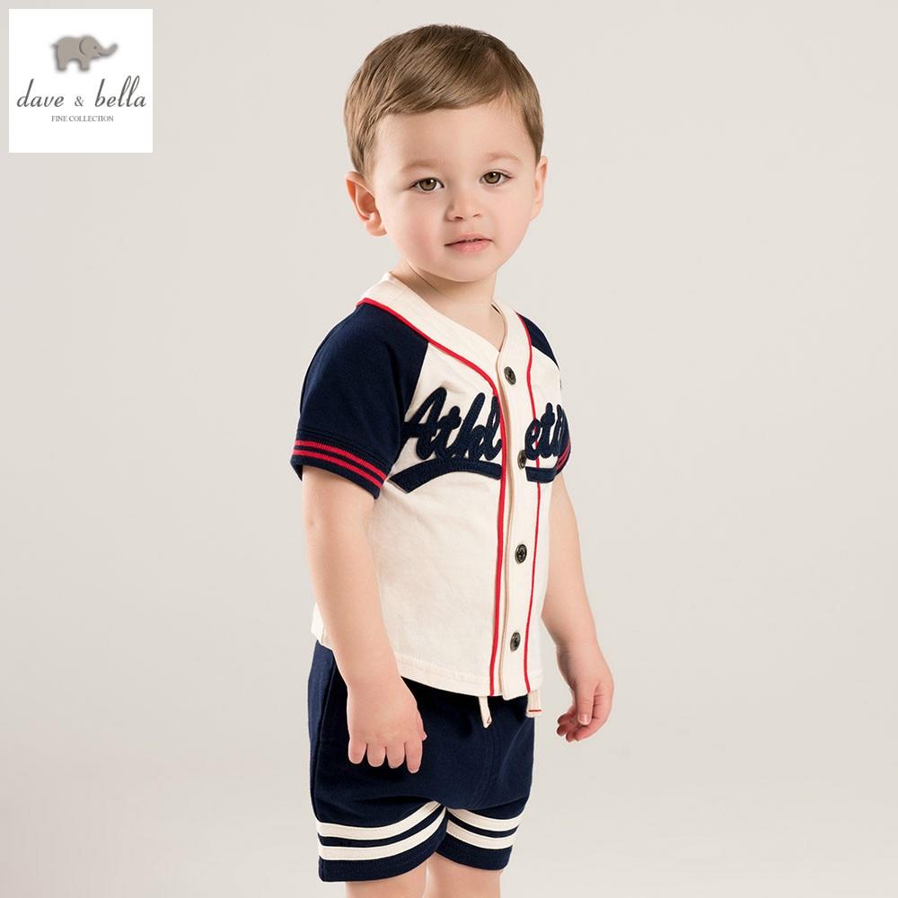 купить DB5002 dave bella summer baby boys clothing sets navy sets child sets infant clothes kids sets baby costumes недорого