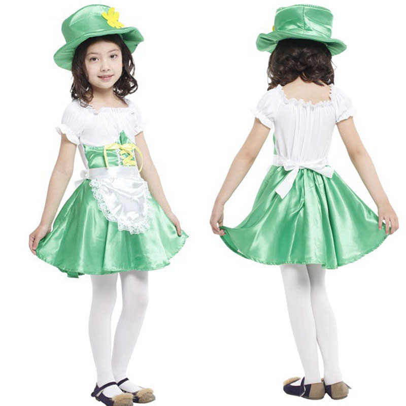 264816a59 Lindo irlandés chica chicas traje de duende para los niños verde Mini blusa  vestido St Patricks