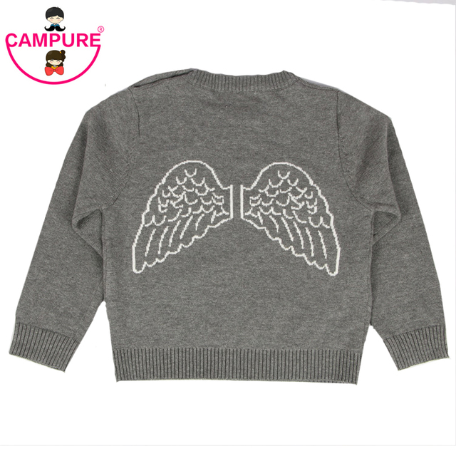 fde4cc4c3 New 2016 Autumn Baby Girls Cotton Cardigan Lovely Back Angel Wings Sweater  Knit Sweaters Toddler Kids