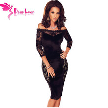 Dear Lover European Fashion 2016 Night Party Clothes Black Quarter Sleeves Lace Off Shoulder Dress Vestidos Robes Festa LC60879