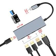 Jincomso USB 3.1 Tip C HUB 7 in 1 Thunderbolt 3 C Tipi Adaptör Dock 3 USB 3.1 Bağlantı Noktası 4 K HDMI 1080 P SD Için Macbook Pro