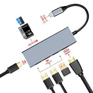 Image 1 - Jincomso USB 3.1 type c HUB 7 en 1 Thunderbolt 3 Type C adaptateur Dock 3 USB 3.1 Port 4 K HDMI 1080 P SD pour Macbook Pro