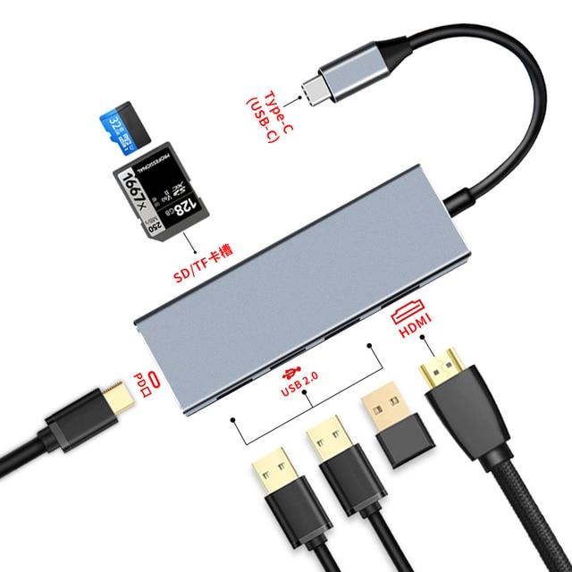 Jincomso USB 3.1 type c HUB 7 en 1 Thunderbolt 3 Type C adaptateur Dock 3 USB 3.1 Port 4 K HDMI 1080 P SD pour Macbook Pro