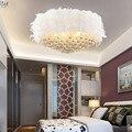 Новый Ресторан перья круглый кристалл потолочный светильник для спальни освещение led ресторан Потолочные светильники высококлассная атмо...