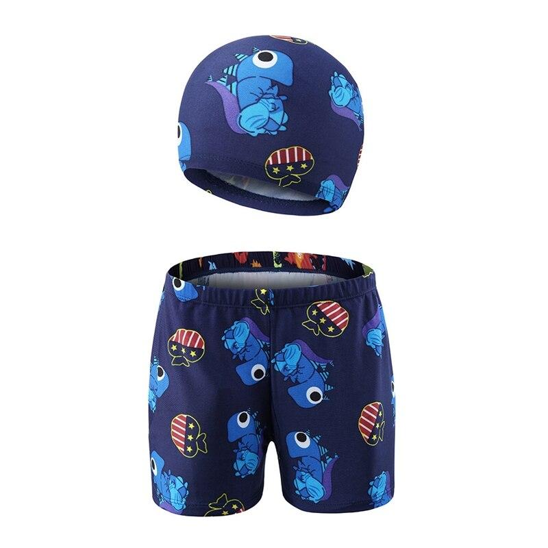 2019 Summer  Swimming Beach Shorts+Cap Kit Children Boy Cartoon Animal Printed Trunks Hat Kids Sportswear Accessories FOR 3-11Y
