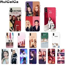 RuiCaiCa BLACK PINK BLACKPINK kpop collage Pattern TPU Soft Phone Case for Apple iPhone 8 7 6 6S Plus X XS MAX 5 5S SE XR Cover little girl pattern led flash light protective pc back cover case for iphone 5 5s pink