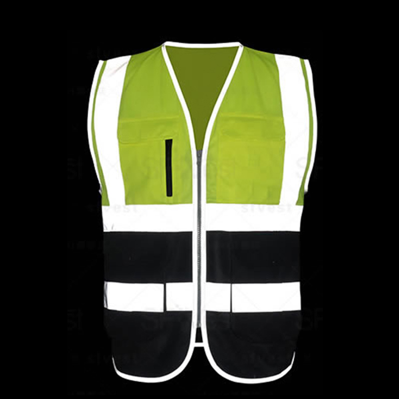 Mens Hi Vis Vest Safety Multi Pockets Miner Construction Worker Workwear Safety Waistcoat Logo Printing Free Shipping
