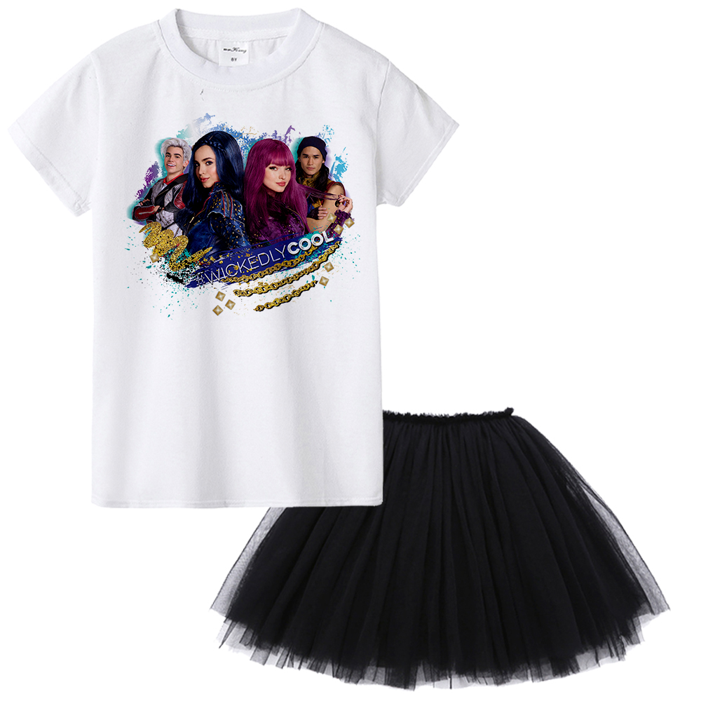 1Yto12Y Movie Descendants 2 Teens Girl Clothing Set Summer Kids Clothes Children Tops T-shirt + Skirt Set for Toddler Girl Suits retail design children clothing set for kids girl dark blue cardigan t shirt pink skirt high quality 2014 new free shipping