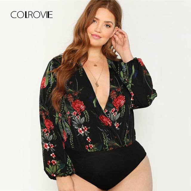 6d911e163d COLROVIE Plus Size Black Wrap Deep V-Neck Plants Print Boho Bodysuit Women  Clothes 2018 Autumn Long Sleeve Ladies Sexy Bodysuits