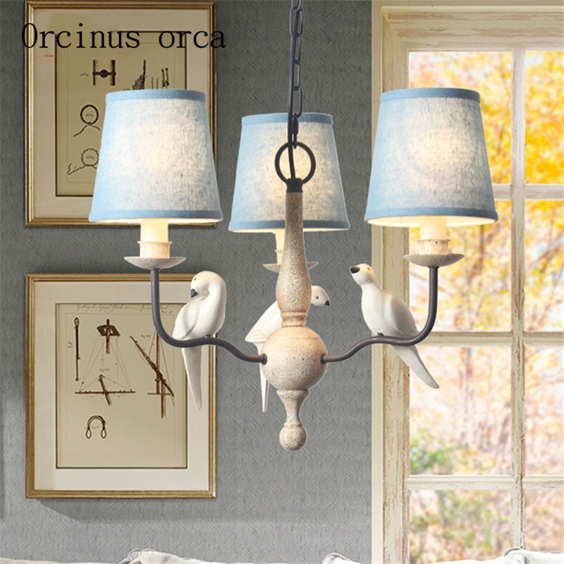 Nordic retro American bird resin chandelier living room bedroom dining room personalized linen iron Chandelier free shippingNordic retro American bird resin chandelier living room bedroom dining room personalized linen iron Chandelier free shipping