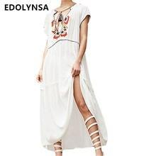 4e6de40f15 Tunika plażowa na lato sukienka Sexy głębokie V szyi z krótkim rękawem  hafty cienka biała bawełniana sukienka w dużym rozmiarze .