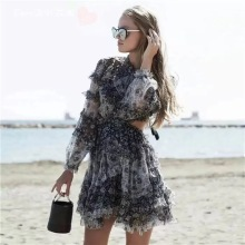 Elegant black flower print dress