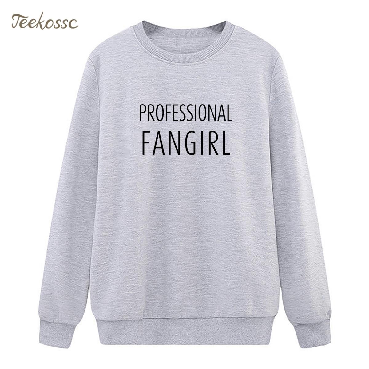 Professional Fangirl Sweatshirts Womens Casual Hoodies 2018 Winter Autumn Lady Pullover Loose Fleece Sportswear Hipstrer Hoody