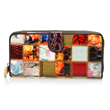 Фотография Dreamlizer Patchwork Genuine Leather Women Wallets Large Size Coin Bag Female Clutch Purse Women Long Card Holder Wallet