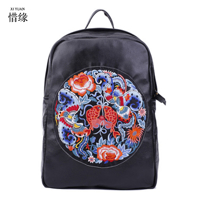 Vintage Embroidery Ethnic Genuine Leather Backpack Women Handmade Flower Embroidered Bag Travel Bags Schoolbag Backpacks Mochila free shipping vintage hmong tribal ethnic thai indian boho shoulder bag message bag pu leather handmade embroidery tapestry 1018