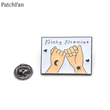 Patchfan Pinky promise friendship DIY Zinc tie cartoon Funny Pins backpack clothes brooches for men women hat badges medal A1841
