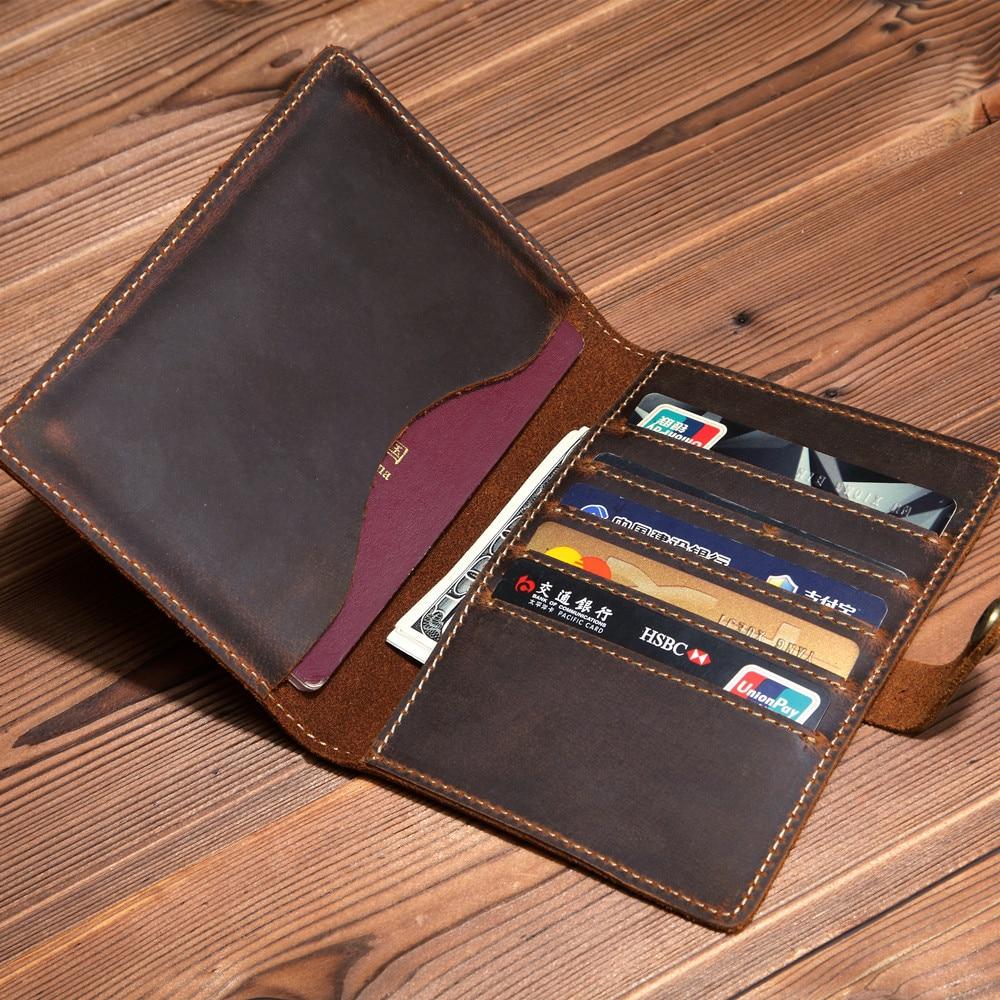 Luxury Handmade Travel Passport Holder Men Top Cow Leather Case For Passport Travel Wallet Oragnizer Vintage Hasp Paspoort Cover