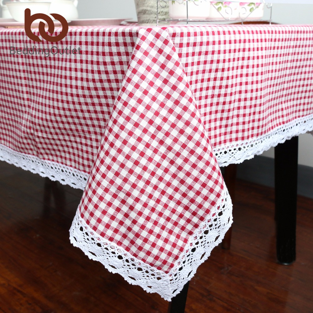 BeddingOutlet Bordplade Plaid Brun Pink Bord Cover Lace Edge Dining Bomuld Linen Bordduge High Quality Home Decoration