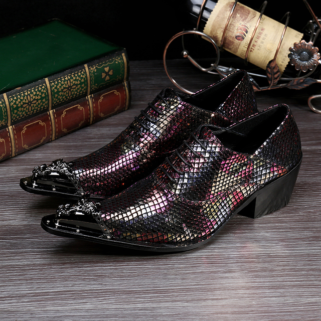 Patent Leather Shoes For Men Mixed Color Men Party Dresses Shoes Metallic Mens Leather Oxford Lace Up Shoe