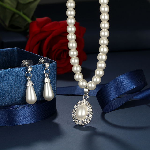 Vintage Water Drop Earrings Bridal Jewelry Set For Women African Beads Simulated Pearl Wedding Jewelry Set Bijoux Necklace 2018