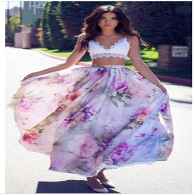 2017 New BOHO Womens Skirt Floral Print Pleated Jersey Gypsy Long Maxi Full Skirt Summer Beach Sun Skits For Women W