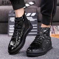 new arrival 2019 mens shoes genuine leather mens casual shoes hot sale patent leather high top sneakers crocodile marque homme