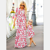 Mom And Me Floral Printed Dress Family Matching Clothing Dress Princess Girls Summer Dress Family Match