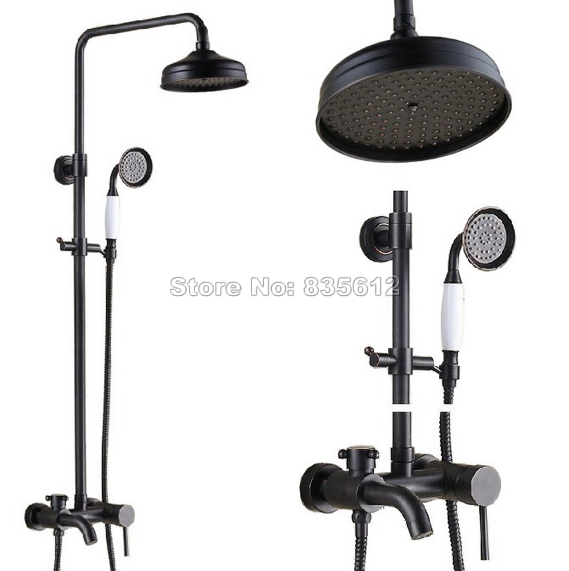 Classic Black Oil Rubbed Brass Bathroom 8 inch Rainfall Shower Faucet Set +Ceramic Hand Spray +Wall Mount Tub Mixer Taps Wrs343
