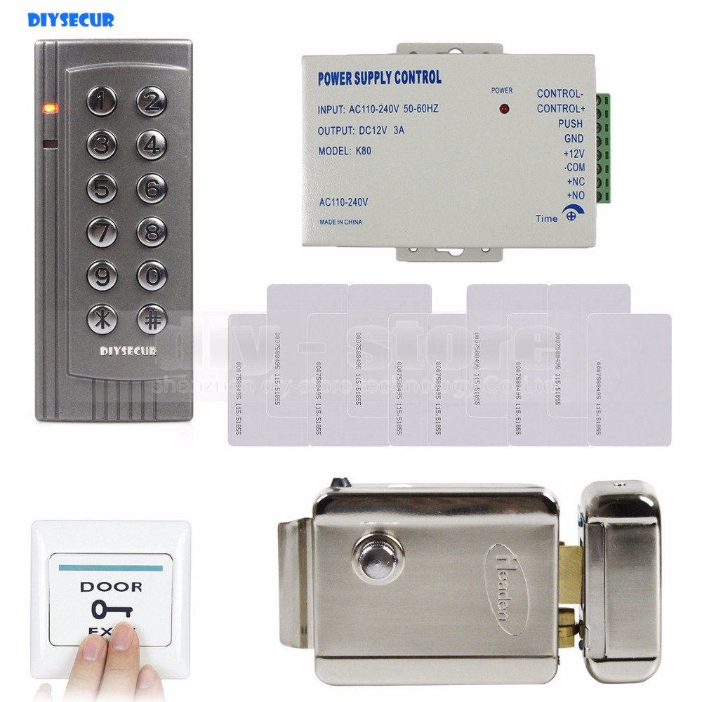 DIYSECUR K4 125KHz RFID Keypad Door Access Control System Full Kit Set + Electric Lock + Power Supply diysecur 125khz rfid metal case keypad door access control security system kit electric strike lock power supply 7612