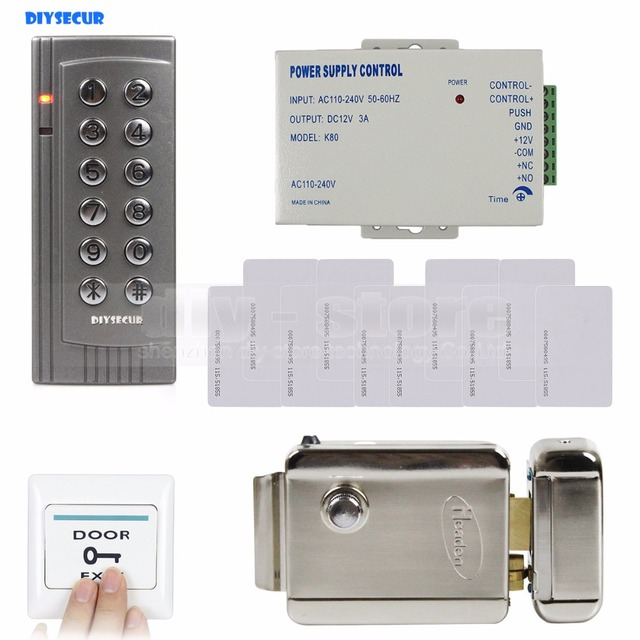 diysecur k4 125khz rfid keypad door access control system full kitdiysecur k4 125khz rfid keypad door access control system full kit set electric lock power supply