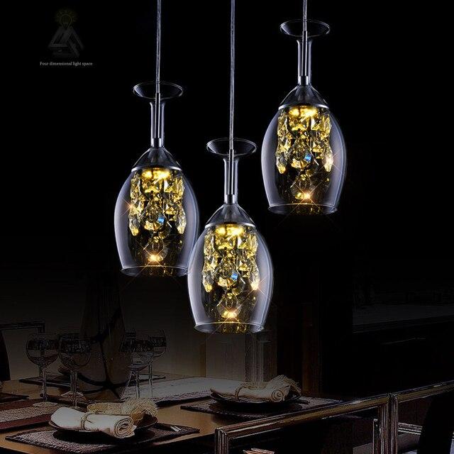 Led modern wine glass crystal droplights home indoor dining room pendant lights fixture restaurant cafes pub