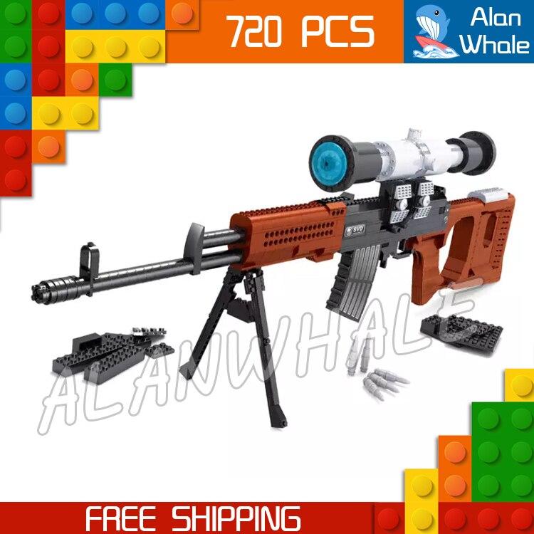 720 pièces modèle SVD Sniping fusil portée jouet arme à feu pour militaire assaut soldats Kit de construction blocs jouets Compitable avec Lego