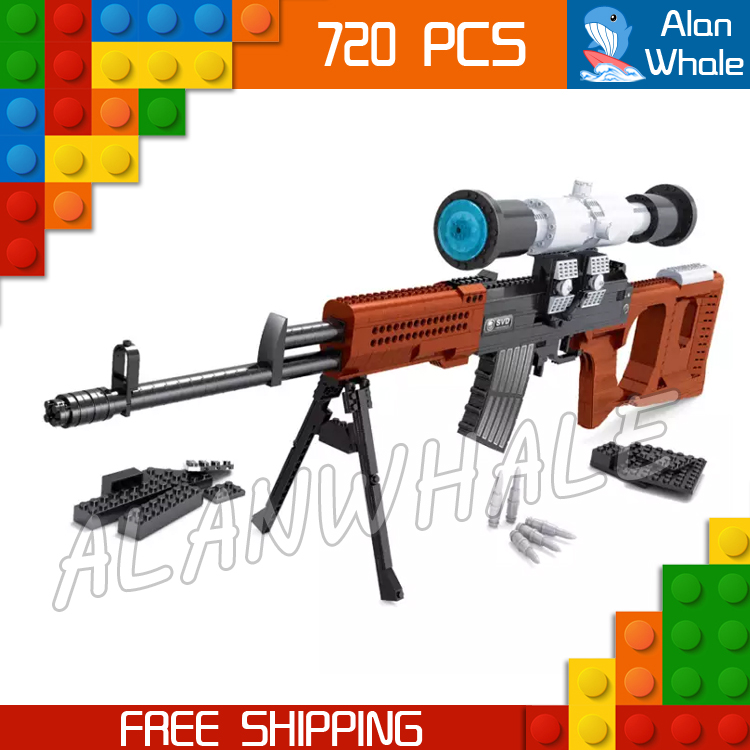 720pcs Model SVD Sniping Rifle Scope Toy Gun Weapon For Military Assault Soldiers Building Kit Blocks Toys Compitable with Lego kazi 228pcs military ship model building blocks kids toys imitation gun weapon equipment technic designer toys for kid