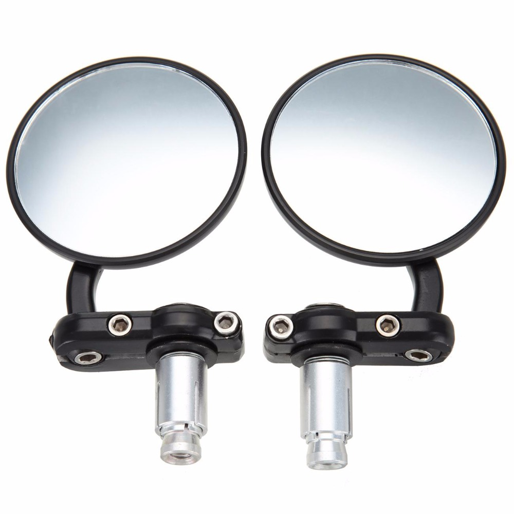 Motorcycle Black 7/8 Round Bar End Rear Mirrors Moto Motorcycle Motorbike Scooters Rearview Mirror Side View Mirrors Cafe Racer universal motorbike 7 8 rearview mirrors motorcycle rear view side mirror for yamaha honda suzuki kawasaki parts plastic