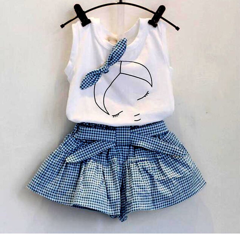 e89b65434d Girls Vest + Houndstooth Skirt Kids Clothing Tops + Bow Cotton Skirts 2  Piece Suit 2-6 Year