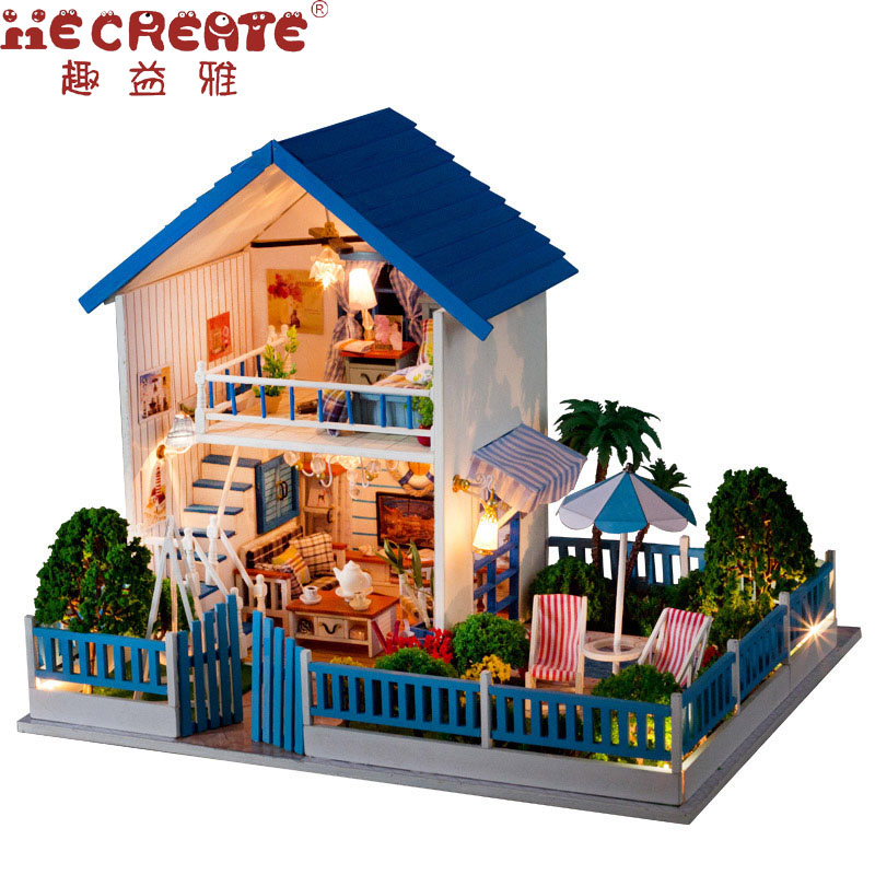 IIE CREATE Doll House Furniture DIY LED Dollhouse Miniature Villa With Garden Wooden House Room Model Girls Gifts Toy For Kids skirt olimara skirt