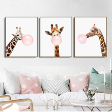 Giraffe Bubble Gum Nordic Poster Canvas Painting Calligraphy Prints Picture For Living Room House Wall Decor Art Home Decoration