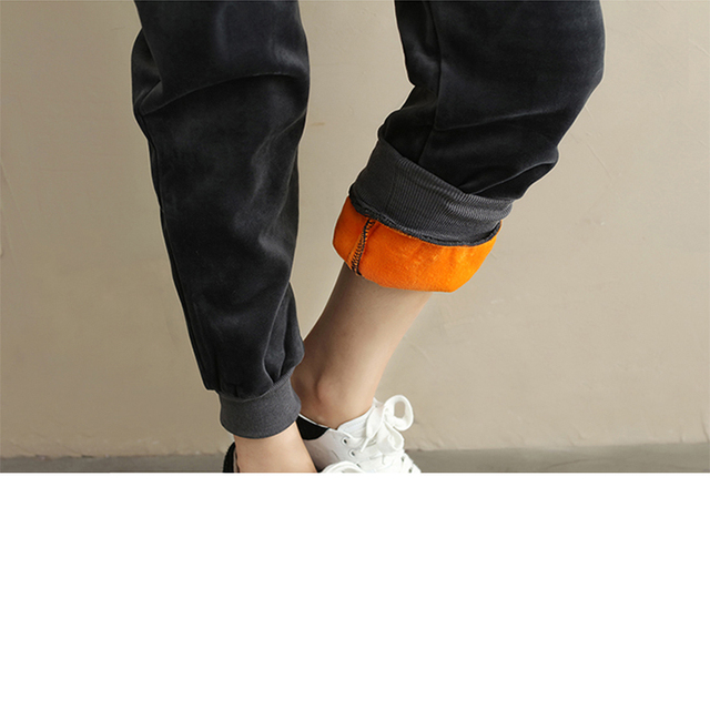 Plus Size Women Winter Velvet Pants Gold Fleeces Thickening Elastic Drawstring Waist Harem Pants Female Warm Trousers 4