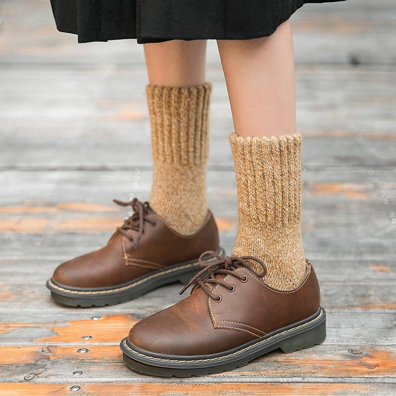 Women Merino Wool Socks Brand Socks Japanese Style Thick Winter Warm Cashmere Socks Tube Slippers Socks Simple Style Crew 1Pair