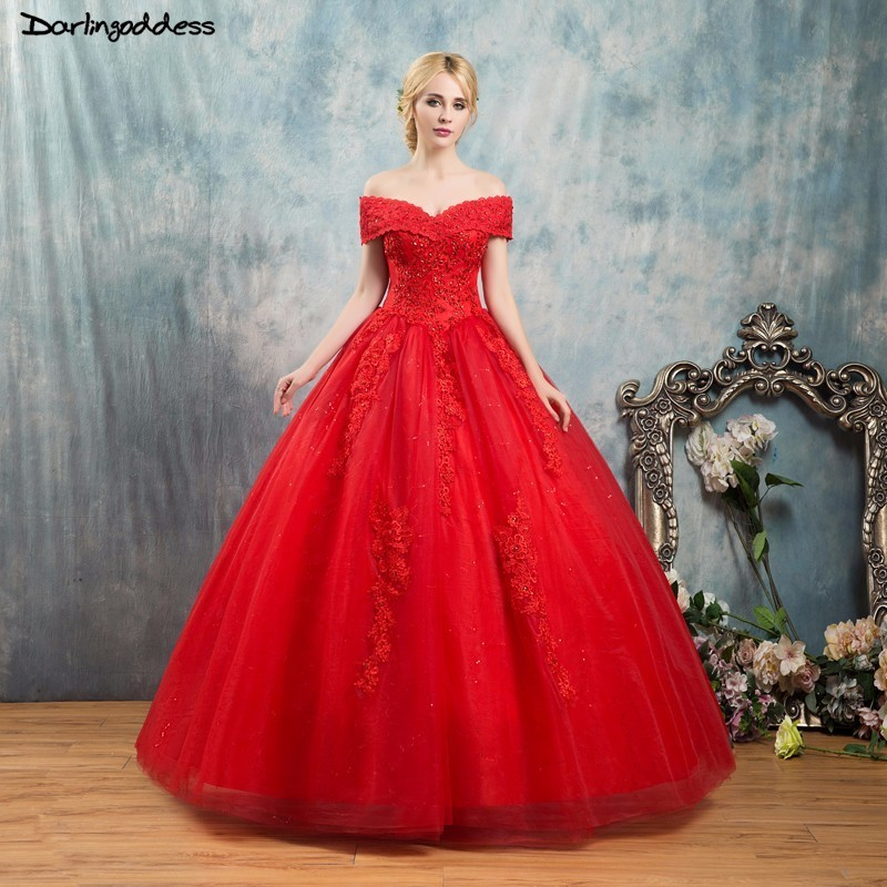 Sexy Red Wedding Dress Plus Size Floor Length Cap Sleeve Ball Gown Wedding Dress Short Sleeve Lace Wedding Gowns 2018