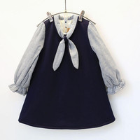 Winter Autumn Thicken Striped Bow Tie Dresses Girls Long Flare Sleeve Patchwork Dress Toddler Baby School