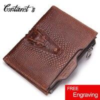 Free Engrave Fashion Alligator Genuine Leather Wallet For Men Brand Designer Short Wallets Sandstone Color Coin
