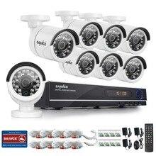 SANNCE Главная Безопасность HD 1080N 1080 P 8-КАНАЛЬНЫЙ ВИДЕОРЕГИСТРАТОР 8 ШТ. 720 P высокое Разрешение ИК-Камеры ВИДЕОНАБЛЮДЕНИЯ Системы Видеонаблюдения 8 Каналов комплект
