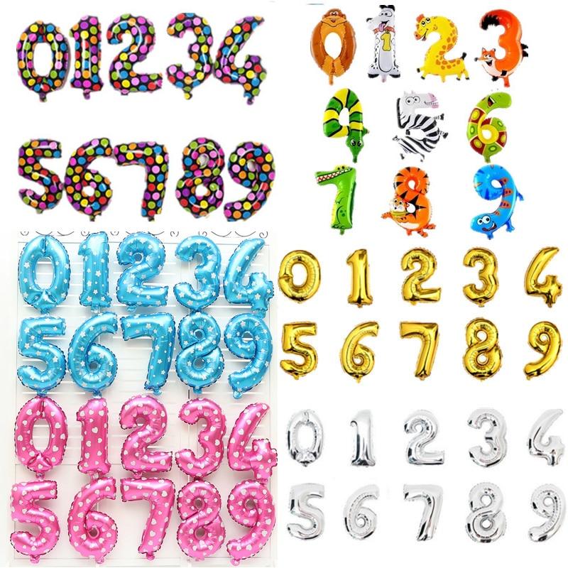 ▽1 unidades 16 pulgadas rosa y azul número globos helio para globos ...