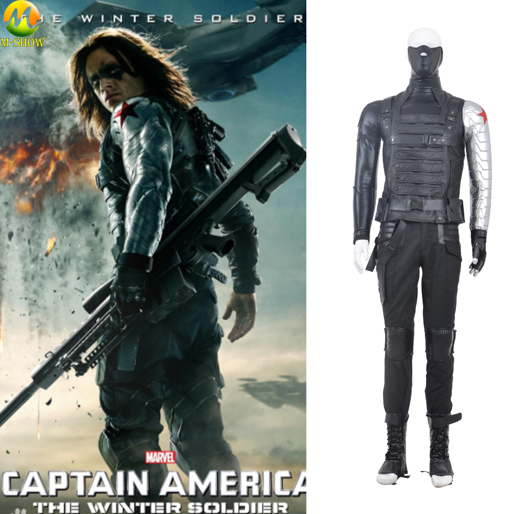 Winter Soldier Costume Captain America 2 Barnes Cosplay Costume Superhero Winter Soldier Halloween Costumes For Men