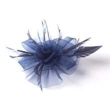 ShanFu Women 2017 Mesh Fascinator Feather Headband Wedding  Hats with Hair clip for Church Tea Party SFC12622