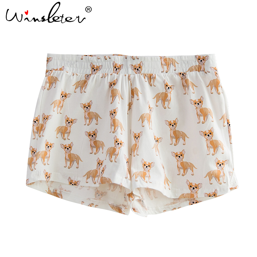 db5daf98bf Cute Sleep Bottoms Shorts Women Cotton Knitted Chihuahua Print Pajamas Dog  Elastic Waist S XXL B61001-in Sleep Bottoms from Women's Clothing &  Accessories ...